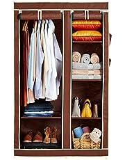Amazon Brand - Solimo 2-Door Foldable Wardrobe, 6 Racks, Brown