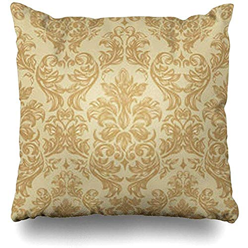 Fodera per cuscino damasco vintage marrone in stile barocco eleganza astratta floreale royal antico divano decorazione quadrata federa federe casa 45x45 cm federa