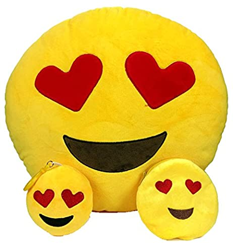 Emoji Pillow FREE Keyring Chain & Soft Money Purse Wallet Coin Holder Smiley Fake Poop Throw Emoticon Cushion Cute Shaped Plush Love Yellow Stuffed Round Large Gift Set Bundle Brown Funny Toy Love Merchandise Fluffy Poop Novelty Accessories Everything For Kids Prime