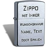 Zippo Benzin Feuerzeug Chrom gebürstet Regular Sturmfeuerzeug mit Wunschgravur inkl. Schutzengel Schlüsselanhänger von THDesign®
