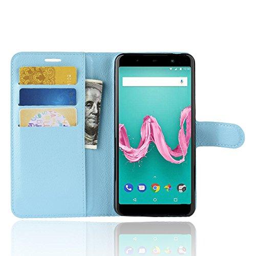 MIFanX Wiko Sunny 3 Hülle,Flip Geldbörse mit [Kartensteckplätzen] Schutzhülle Cover für Wiko Sunny 3(Blau)