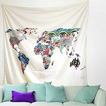 Floral world map tapestry bohemian tapestries colorful wall floral world map tapestry bohemian tapestries colorful wall hanging indian home decor wall art for living gumiabroncs Gallery