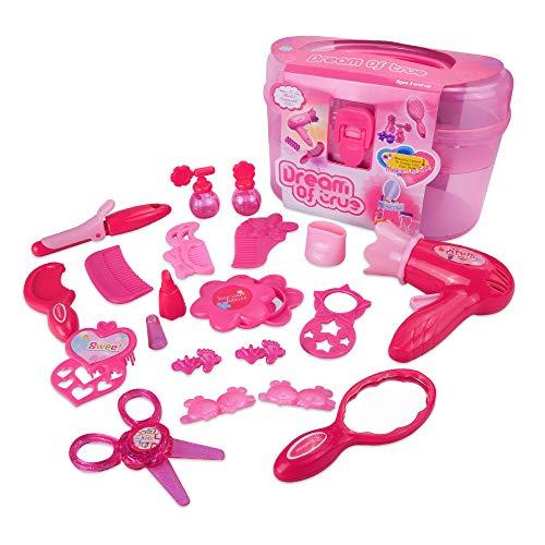 ZMH Kinder Schmuck Dressing Make-Up Spielzeug Set Mädchen Mini-Hausfrau Handtasche Koffer Für 3-5-7 Jahre Alte Kinder - Alten Make-up
