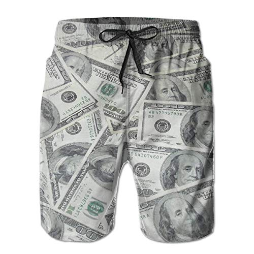 Vikimen Herren Badehose Beach Shorts Herren Badehose Beach Shorts Summer 3D Print Cool USA Dollar Bill Graphic Casual Athletic Swimming Short (Bill Ärmel Dollar)