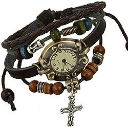 S&E Women's Vintage Style Leather Quartz Wrap Around Bracelet Wrist Watches