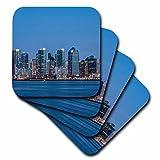 3dRose cst_205706_1 Usa, California, Harbor Island, San Diego Skyline At Twilight. Soft Coasters, (Set of 4)