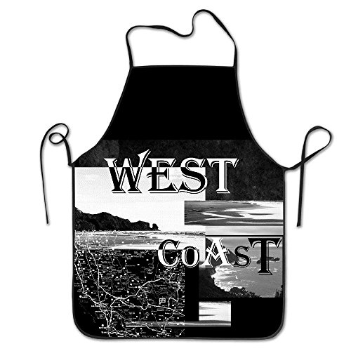Funny&shirt Women Bib Kitchen Apron Polyester Art Printing West Coast 2017 USA State New