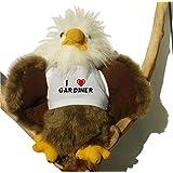 Águila calva de peluche con Amo Gardiner en la camiseta (nombre de pila/apellido/apodo)