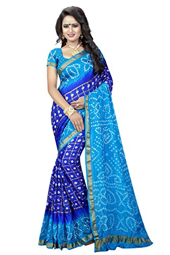 Shree Sondarya Bandhani Women's Multicolor Silk Bandhani Saree