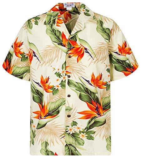 70's Disco Größe Kostüm Plus - P.L.A. Pacific Legend Original Hawaiihemd, Kurzarm, Strelitzie, Beige, S