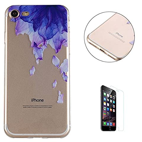 iPhone 7 4.7 inch Silicone Case Clear [with Free Screen Protector],KaseHom Unique Stylish Printed Pattern Design Slim-Fit [Shockproof] TPU Rubber Bumper Cover [Scratch Resistant] Transparent Soft Jelly Protective Skin Shell for Apple iPhone 7 4.7 inch - Flower Purple