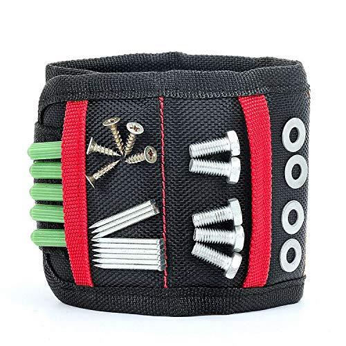 Magnetisches Armband, Starken Magnet Nagel Schrauben Werkzeug Halter, mit 15 leistungsstarken Magneten, Geschenk für DIY Heimwerker Männer Papa