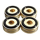 ShireyStore praticità Pad per piedini dorati giradischi, 4pz 40x15mm Supporto per altoparlante Base per giradischi Piedistallo dorato