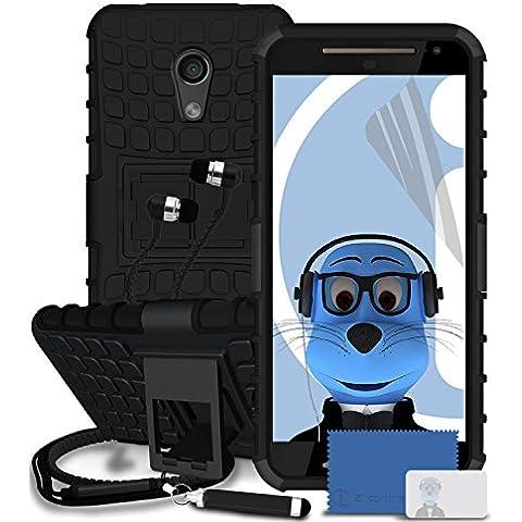 Motorola Moto G (2014) Moto G2 2nd Generation Nero Casi Shock Proof Rugged Hard con Visualizza Stand - LCD Screen Protector - retrattile Mini Stylus Pen - 3,5 millimetri ZIPPER mani Cuffie stereo Gratuiti con Mic