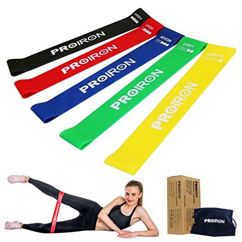 Proiron bande elastiche, fasce elastiche di resistenza set di 5 per uomini e donne perfette per allenamento, fisioterapia, yoga, pilates, ginnastica, fitness - per una migliore flessibilità e forza