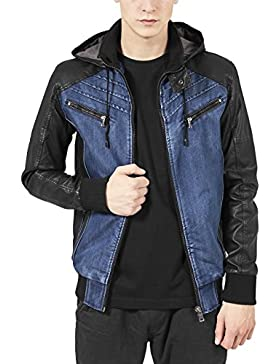 Urban Classics Hooded Denim Leather Jacket, Chaqueta para Hombre