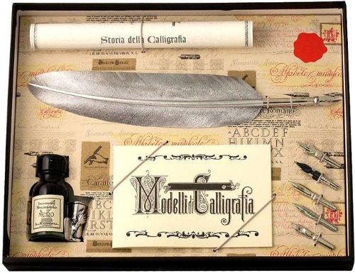 argent-plume-doie-et-5-nib-ensemble-de-coles-calligraphy