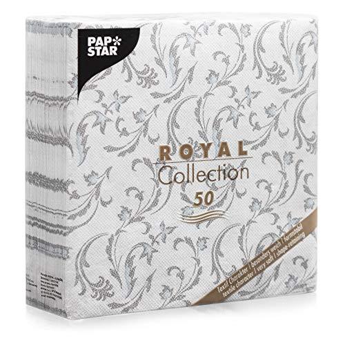 Papstar 50Serviettes Royal Collection Pliage 1/440cm x 40cm Gris damascato, 85005