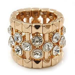 Largo trasparente con Flex Band anello in metallo color oro con finitura–20mm larghezza–Taglia 7/8