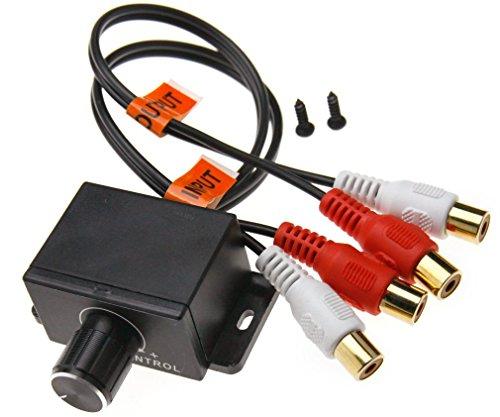 EX1 Autoradio Verstärker Gewinnniveau Bass Audio Lautstärkeregelung Knopf Taste mit 2-Cinch Stecker