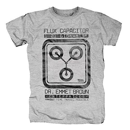 Doc Und Kostüm Marty Brown Mcfly (TSP Zurück in die Zukunft - Flux Capacitor E Brown T-Shirt Herren XXL Grau)