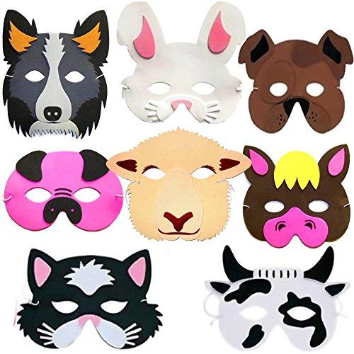 German Trendseller® - 8 x Tiermasken ┃ Bauernhof-Tiere ┃ Schaumstoff Masken┃ für Kinder ┃ Ideal zum Kindergeburtstag und (Kuh Pferd Kostüm)