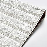 Hans-Shop Brick Fliesensticker 70x77cm Weiß 3D Ziegelstein Tapete Aufkleber Fliesenbild Selbstklebend Wandtapete für Wohnzimmer, Schlafzimmer, Kinderzimmer, Badezimmer Oder Küche (1 Stück)