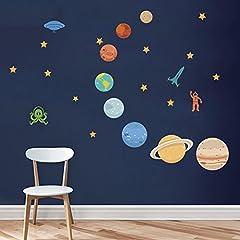 Idea Regalo - decalmile Pianeti nello Spazio Adesivi Murali Sistema Solare Bambini Stickers Vinile Removibile Adesivi da Parete Decorazioni per Bambini Vivai Soggiorno Camera da Letto Aula