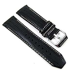Festina Ersatzband Uhrenarmband Leder Band 25mm Schwarz/Weiss F16489/1 F16489 F16488