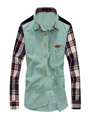 Hommes Plaids Une Poche Poitrine Veste Droite Panneau Chemise Vert