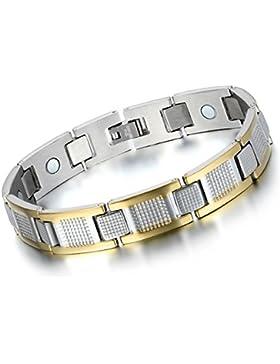 Flongo Magnet Therapie Kugel Perle Perlen Edelstahl Armband Hematit Silber Gold Golden I Rechteckig Quadrat Elegant...