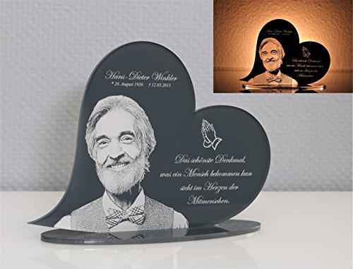 CHRISCK design Gedenktafel Gedenkstandbild Herz Form mit Gravur persönliches Andenken Grabstein