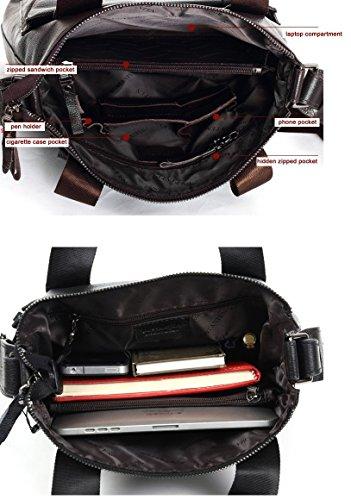 YAAGLE Herren Business Taschen Handtasche Schultertasche Kuriertasche Umhängetasche Aktentasche Reisetasche-black black