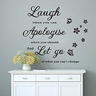 ASENART Laugh When We Can Apologise Vinyl Art Inspirational Quotes Wall Sticker Home Decor Size 20