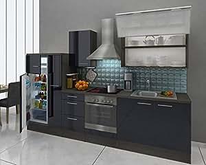 Respekta de montage de cuisine gris 310 cm en chêne noir brillant