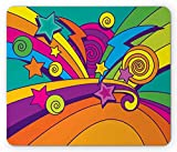 Xaceoiuu Fireworks Mouse Pad, Colorful Lines Stars and Swirl Motifs Retro Style Comic Book Inspired Design, Standard Size Rectangle Non-Slip Rubber Mousepad, Multicolor