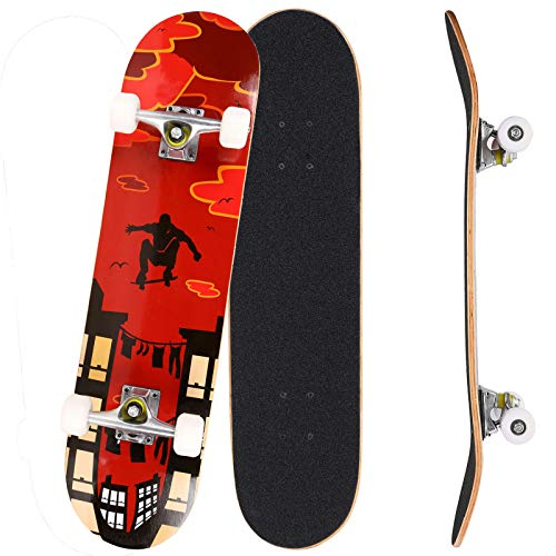 Bunao Skateboard Komplettboard 31 x 8 Zoll mit ABEC-7 Kugellager 9-lagigem Ahornholz für Kinder Jungendliche und Erwachsene, Belastung 100kg (Farbe 1)