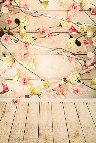 Kate 1.5x2.2m Microfaser Beige Kulissen Fotografie Hintergrund Blume Wand Holzboden Love Spring Fotohintergrund für Baby Kinder (5x7ft, Holz 1)