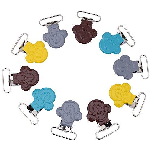 Schnuller Clips, 10er Mini Affe Form Suspender Snap -