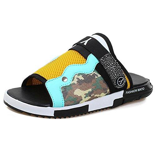 SHANGXIAN Unisex PU rutschfest wasserdichte Indoor Hausschuhe Haushalt Schuhe schwarz blau Yellow