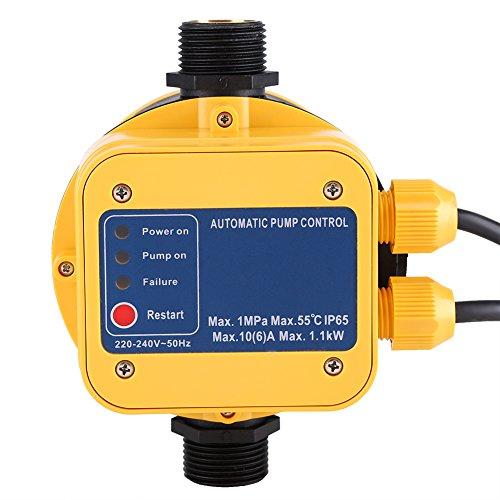 IP65220V controlador de presión bomba de agua presostato automático electrónico controlador de presión con Gauge casa accesorio
