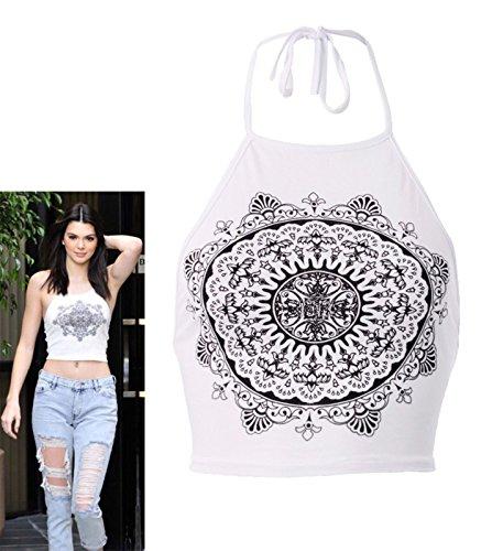 Fast Fashion - Crop Top Célébrité Inspiré Mandala Impression Halterneck - Femmes Blanc