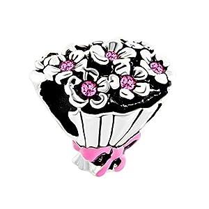 Pinker Blumenstrauß mit Schleife, Charm-Anhänger für Armband, von Korliya