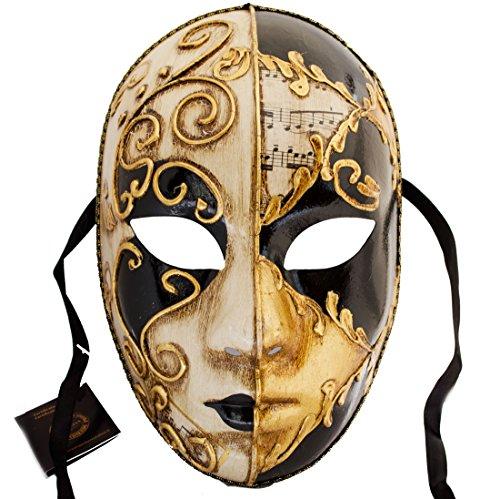 (Lannakind Venezianische Maske Gesichtsmaske Volto Damen Karneval, Ballmaske, Wand-Deko (V05 Schwarz))