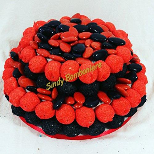 Sindy bomboniere torta di marshmallow e confetti crispo milan originale caramellata, confettata tema calcio rosso e nero