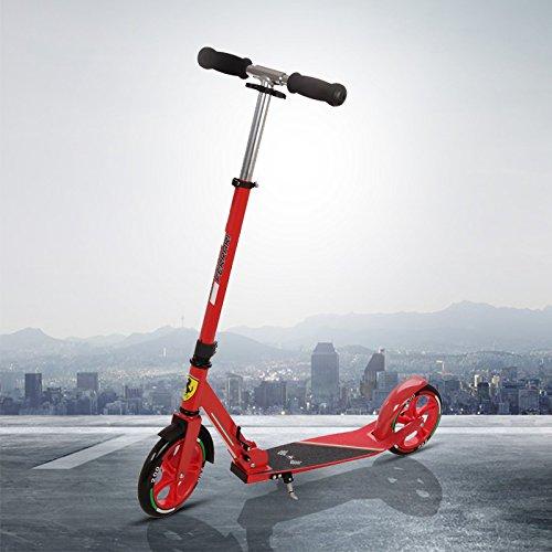 Ferrari® Big Wheel 200cm Cityroller Tret roller Höhenverstellbar Faltbar klappbar Kickscooter für Jugendliche und Erwachsene Kinder 8 Jahre bis 20 Jahre Belastbarkeit bis 100kg Rot