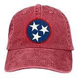 Eriesy Gorra de béisbol Hip Hop Sombreros Unisex Tennessee Tri Star Flag Washed Denim Baseball Cap Rock Hat Adjustable Snapback