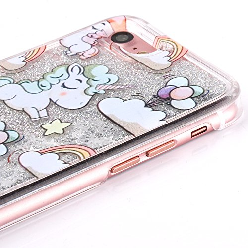 iPhone 7 Silikon Hülle,iPhone 7 Glitzer Hülle,iPhone 7 Transparent Hülle,iPhone 7 Crystal Clear TPU Case Hülle Klare Cristall Silikon Gel Schutzhülle Etui für iPhone 7 4.7 Zoll,EMAXELERS iPhone 7 (4.7 A Unicorn Liquid 5