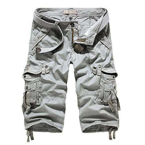 Mens shorts cargo Men at work Cargo pants -Gray-36