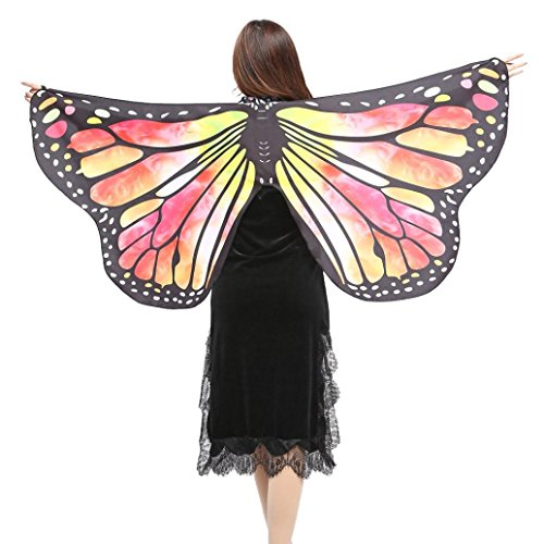 style_dress Damen Frauen Butterfly Wings Schmetterlingsflügel Schals Nymph Pixie Ponch Für Bauchtanz Tanz Schleier Flügel Zubehör Tanzen Kostüm Bauchtanz Fasching Karneval (Gelb)